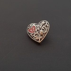 Jewelry - 20mm Loveheart w/ Rose Rhinestones Snap